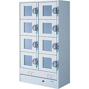 エーコー 冷蔵コールドロッカー(100円リターン式ガラス扉)<2列4段8人用> HPM-8RR9-G