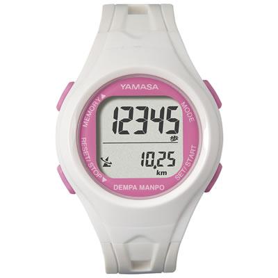 山佐時計計器(YAMASA) 電波時計内蔵腕時計 ウォッチ万歩計 DEMPA MANPO small TM-450<ホワイト×ピンク>