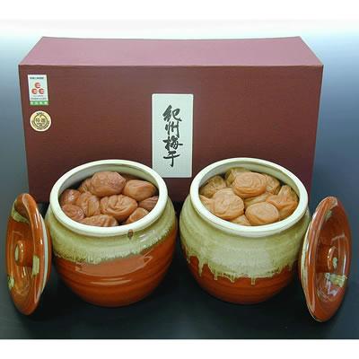 味覚庵 紀州うす塩梅「蜂蜜梅・しそ漬梅」 焼壷入り650g×2個