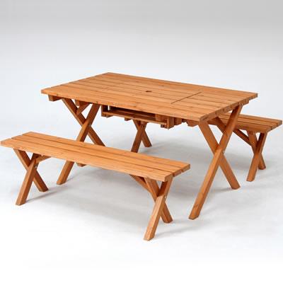 杉材BBQテーブル&ベンチセット(コンロスペース付) SD09-1032BR