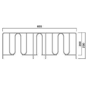 [TYPE-O]メッシュシェルフ転び止め 背面用(W722用) スチール (1本入) BC340P750C