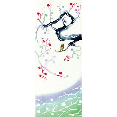 【NUNOいろは】気音間(kenema)<手ぬぐい>寒中紅梅(かんちゅうこうばい) 宮本 54426