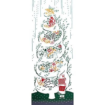 気音間(kenema)<手ぬぐい> 白雪ツリー(しらゆきつりー)【イベント・クリスマス柄】 宮本 54559