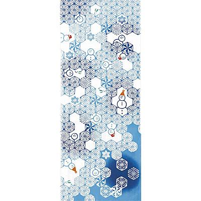 気音間(kenema)<手ぬぐい>麻雪だるま(あさゆきだるま)【イベント・クリスマス柄】 宮本 50029