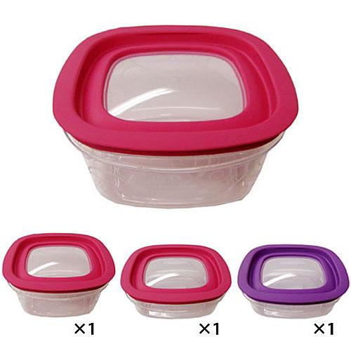 ラバーメイド プレミア ピンク&パープル(プラスチック保存容器 ストッカー)3個セット 7J13JSETPP