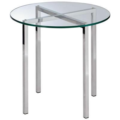室内仕様シンプルサイドテーブル 強化ガラス天板