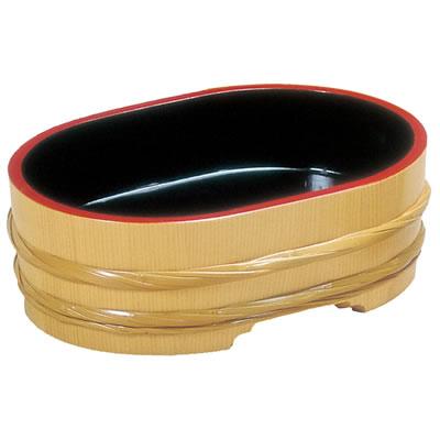 サワラ・竹 飾桶<内黒天朱> 小判型 42103