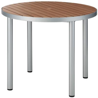 カフェテラス用4脚ラウンドウッドテーブル <ベーシックブラウン>
