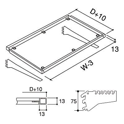 ガラスフレームセット (3爪2段ブラケット) W900×D350 NEO-GFL335N