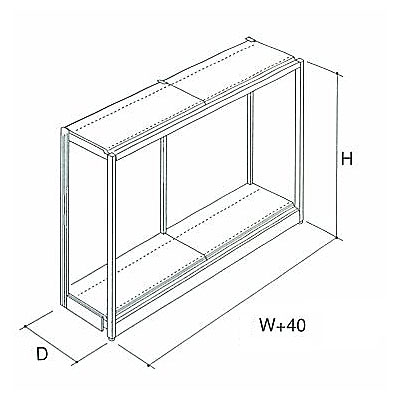 パワーラック(軽量用)片面型 単体 W940×D555×H2100 NP4E7-B0321KS