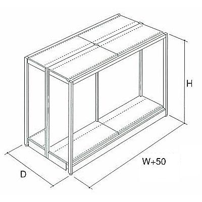 パワーラック(中量用)両面型 単体 W1850×D1360×H2400 NP5E7-A0624NS