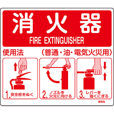 消火器使用法標識(スタンド取付)